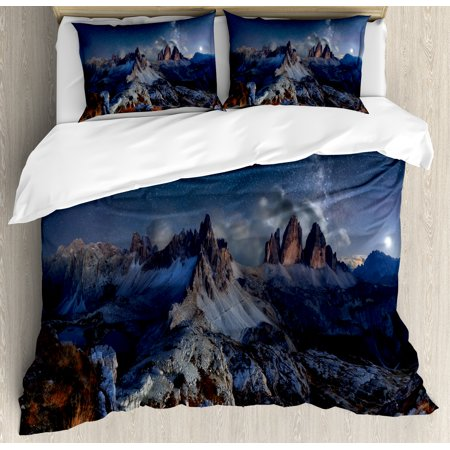 Night Duvet Cover Set, Dolomites Italy Alps Mountain Landscape with Starry Night Sky Milky Way, Decorative Bedding Set with Pillow Shams, Dark Blue Redwood Tan, by Ambesonne ()