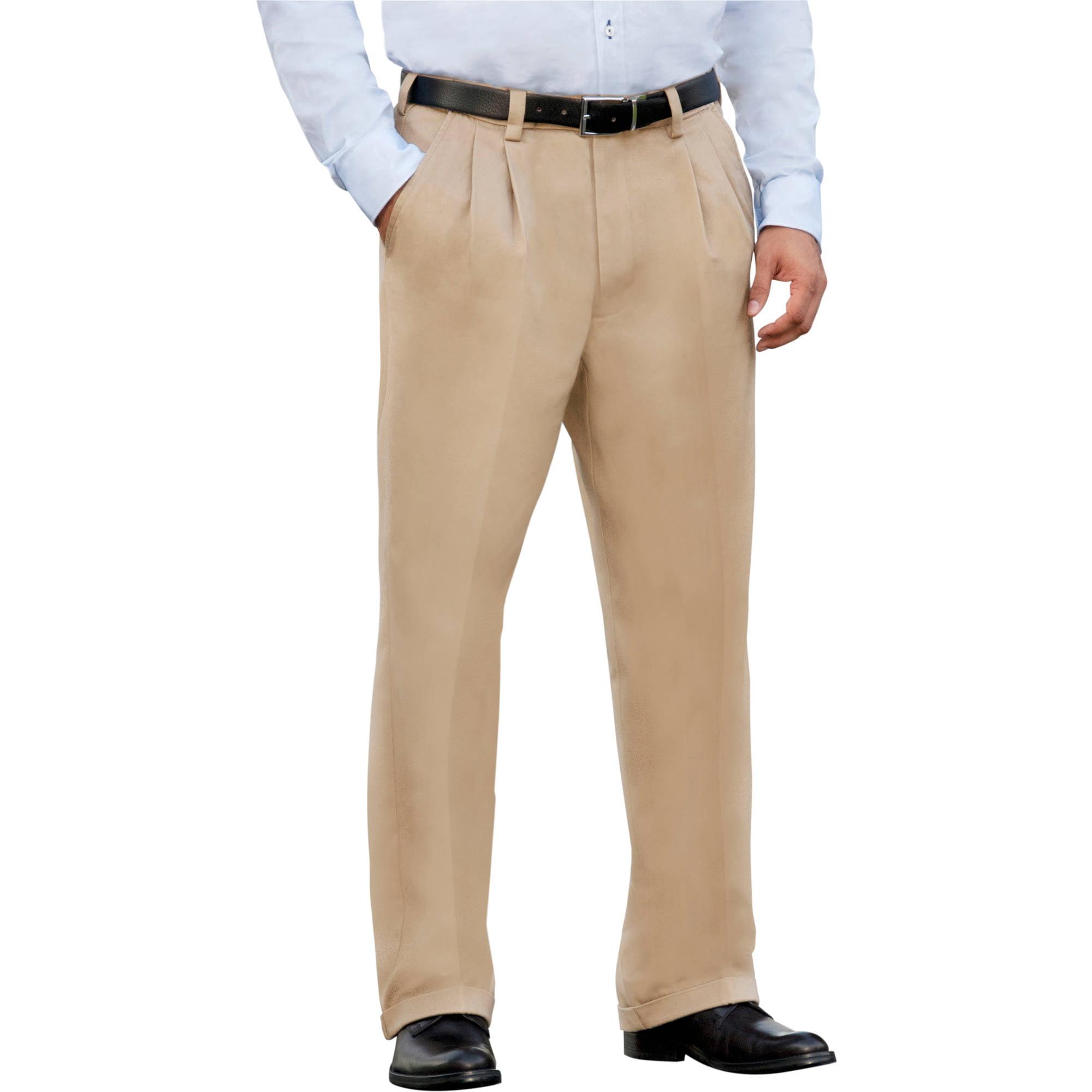 George Men's Premium Pleat Front Khaki Pants