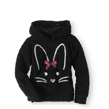 Miss Chievous Sequin Critter Plush Sherpa Hoodie (Little Girls & Big Girls) (Girls Converse Clothes)
