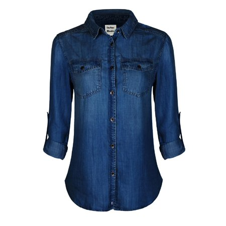 Made by Olivia Women's Classic Vintage Long/Roll Up Sleeve Button Down Denim Chambray Shirt (S-3XL) Medium Denim M