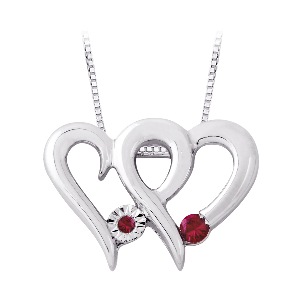 Ruby Heart Pendant with Chain in Sterling Silver (1 4 cttw) by Katarina