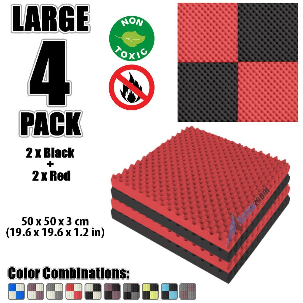 """Arrowzoom New Black and Red 19.6"""" x 19.6"""" x 1.1"""" Convoluted Egg Crate Tile Acoustic Studio Sound Absorption Foam, 4-pcs"""