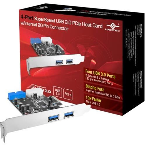 Vantec 4-port Superspeed Usb 3.0 Pcie Host Card W/ Internal 20-pin Connector - Pci Express - Plug-in Card - 4 Usb Port[s] - 1 Sata Port[s] - 5 Esata/usb Combo Port[s] (132826)