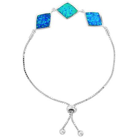 Sterling Silver Synthetic Opal Bracelet Women 3 Diamond Links Adjustable Clasp 7 - 8 (Synthetic Clasps)