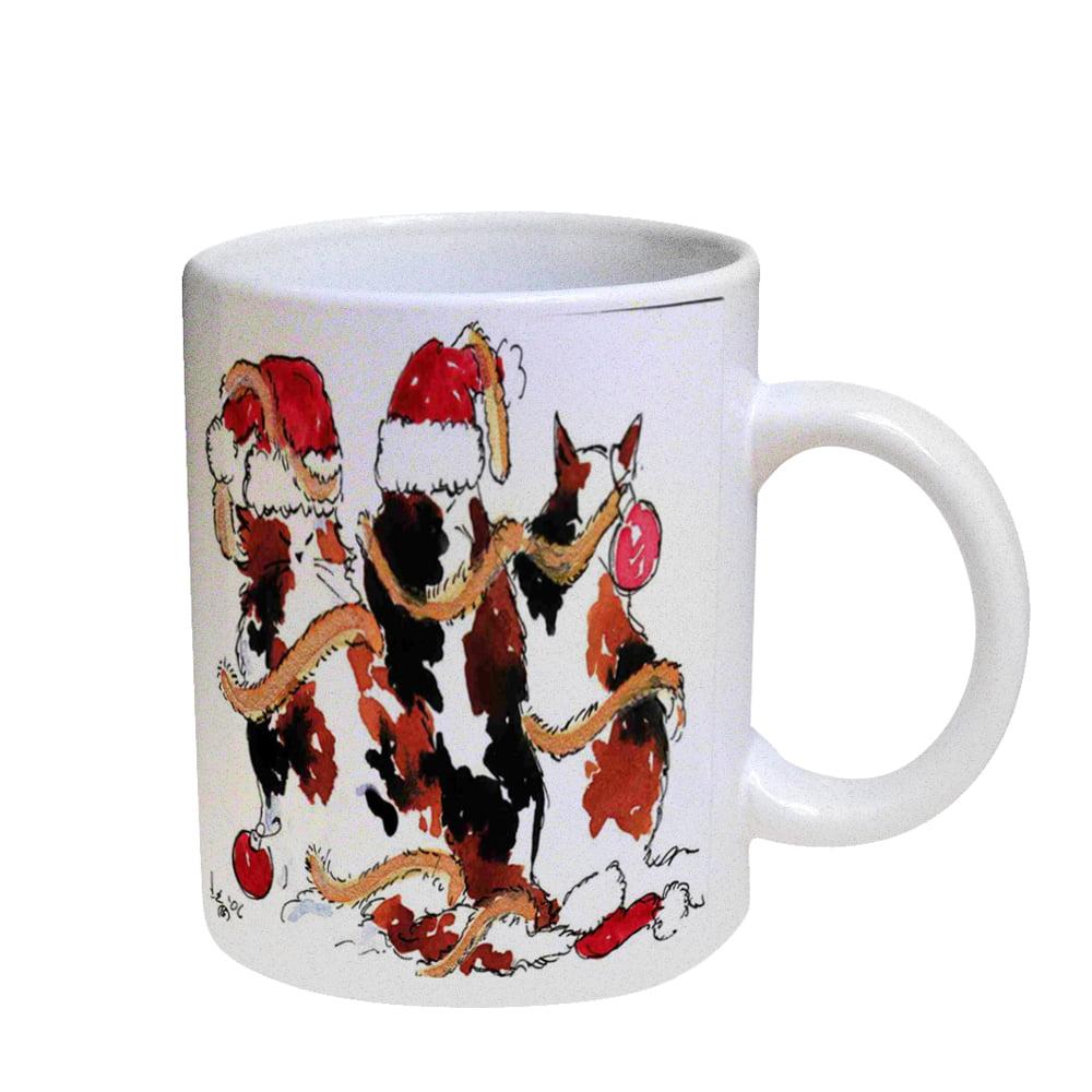 KuzmarK Coffee Cup Mug Pearl Iridescent White - Christmas Calico Maine Coon Kitties Cat Art by Denise Every