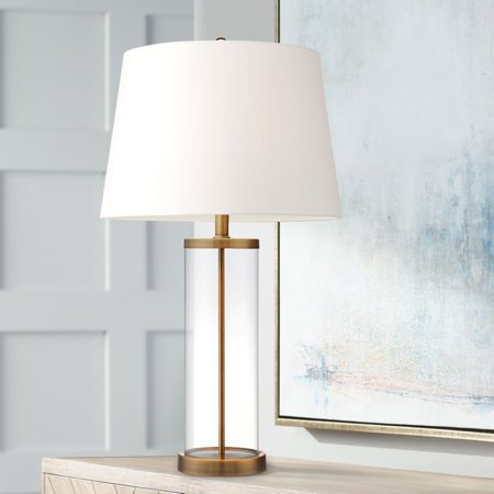360 Lighting Coastal Table Lamp Glass Cylinder Gold Fillable White Drum Shade for Living Room Family Bedroom Bedside Nightstand ()