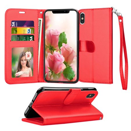 Tekcoo Wallet Phone Case For iPhone Xs Max / iPhone XR, Luxury PU Leather [Red] ID Cash Credit Card Slots Holder Carrying Folio Flip Cover [Detachable Magnetic Hard Case] & (Cellular Phone Leather Carrying Case)