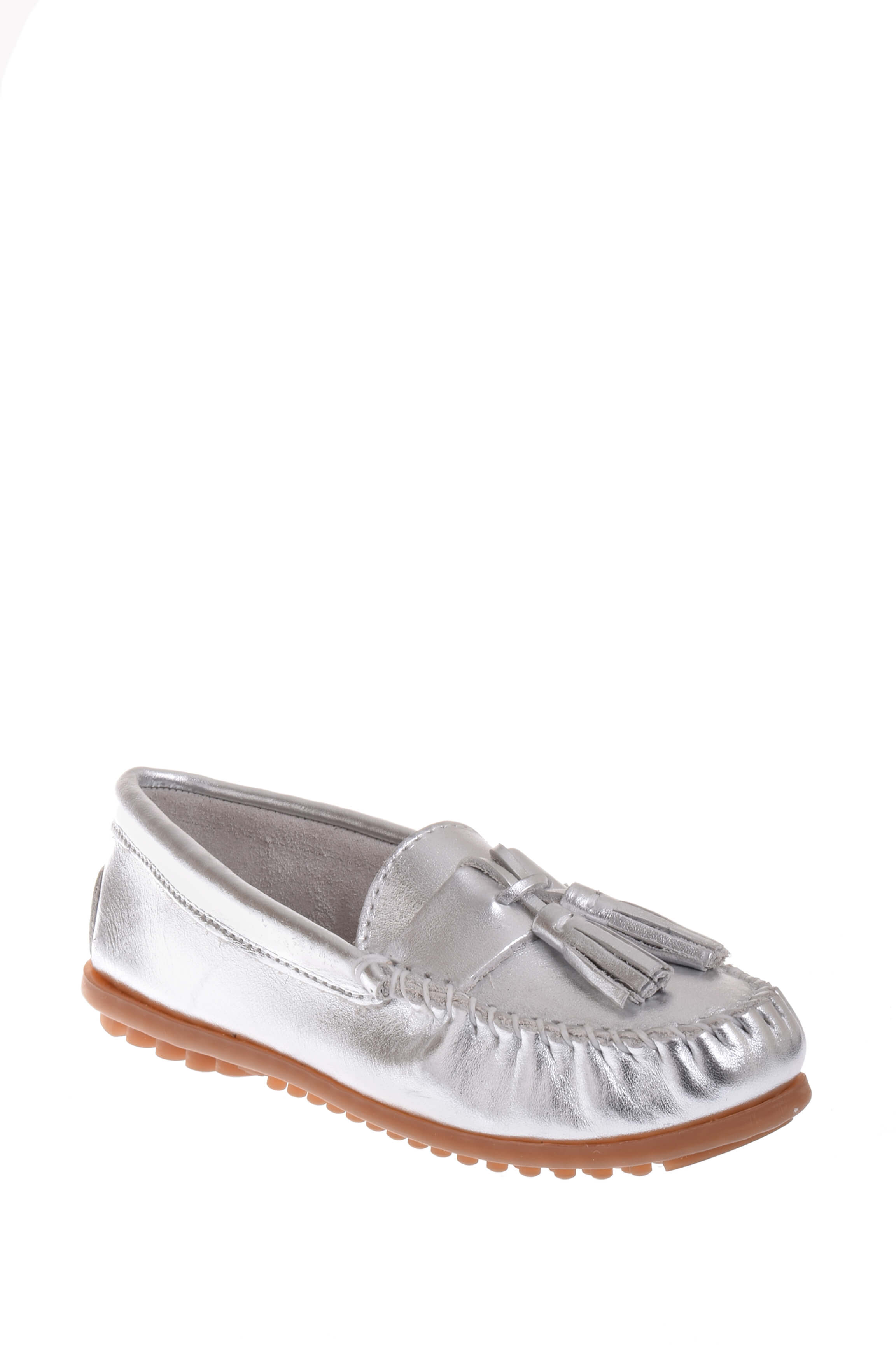Click here to buy Minnetonka 411T Grace Moc Loafer Silver.