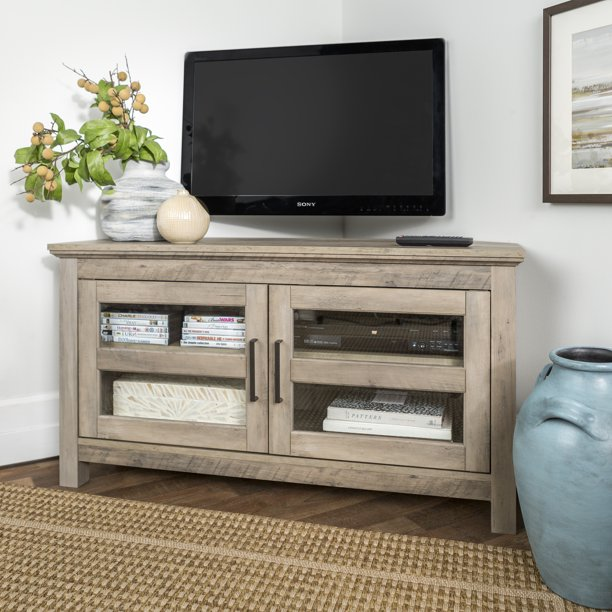 "Manor Park Wood Corner TV Stand for TVs up to 48"" - Grey Wash"