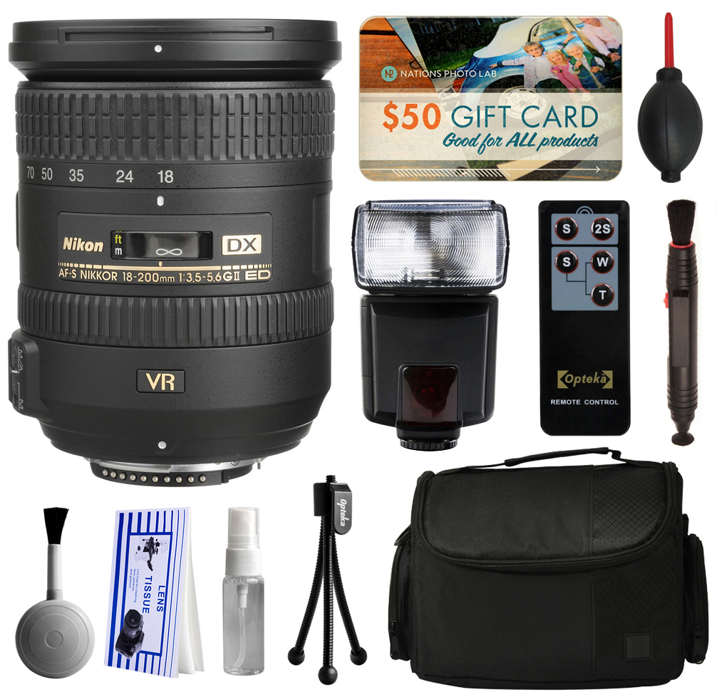 Nikon 18-200mm f/3.5-5.6G AF-S ED VR II Telephoto Zoom Lens 2192 with Starter Accessories Bundle includes E-TTL II Flash + Large Case + Remote Shutter Release + Cleaning Kit + $50 Gift Card for Prints