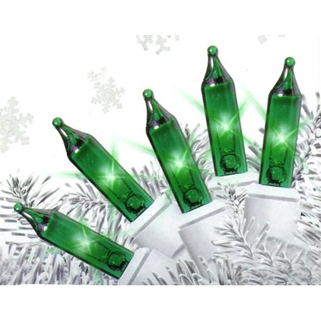 set of 50 super bright green mini christmas lights white wire