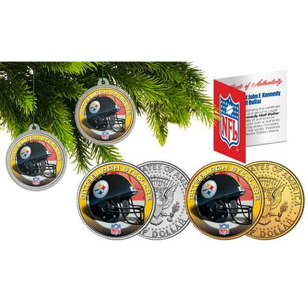 PITTSBURGH STEELERS Colorized JFK Half Dollar 2-Coin Set NFL Christmas - Steeler Ornaments