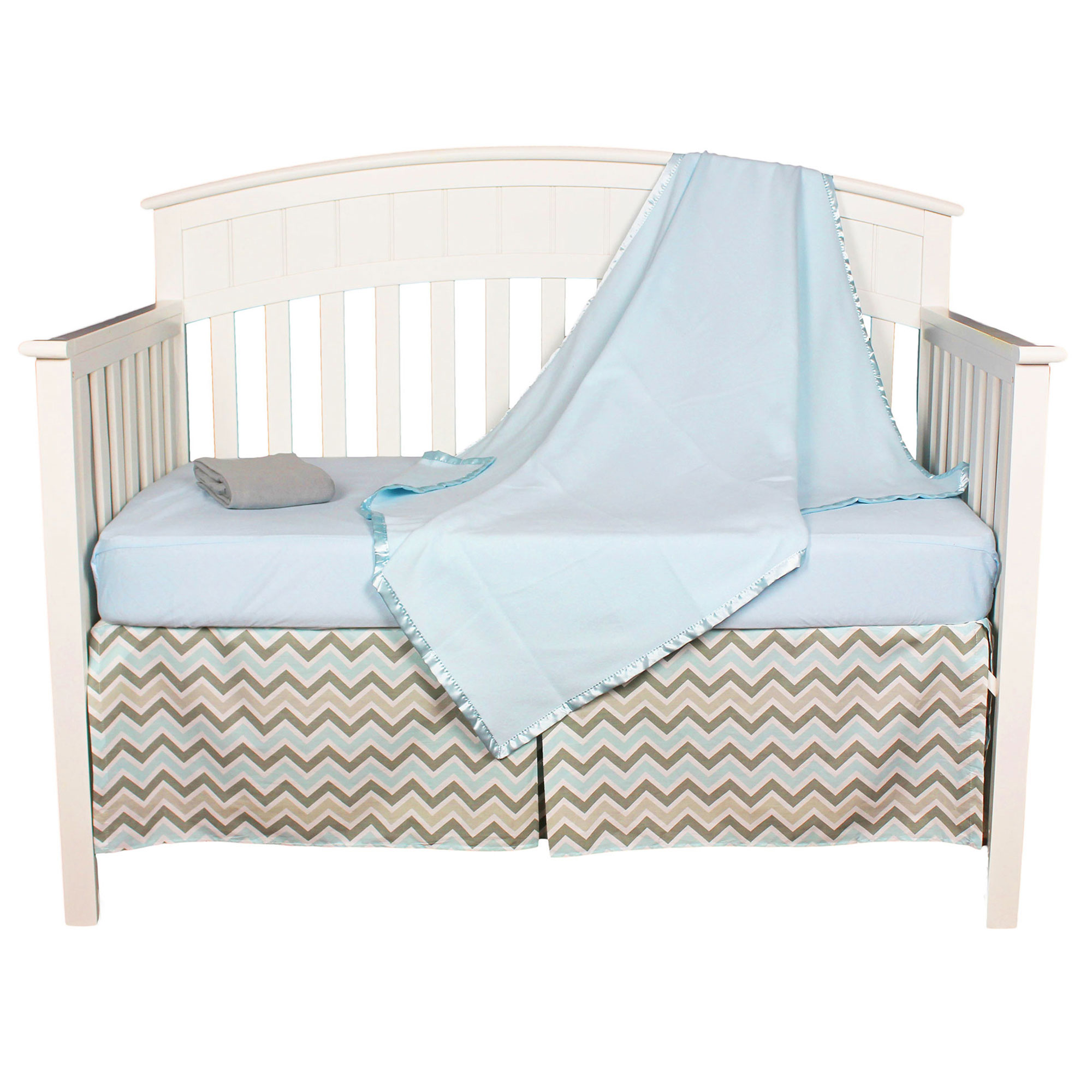 American Baby Company Crib Bedding Set - Blue and Gray Zig Zag - Chevron 4 Piece Baby Bedding Set with Fleece Blanket