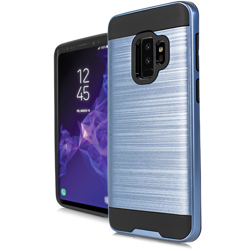 MUNDAZE Blue Brushed Metal Double Layered Case For Samsung Galaxy S9 Phone