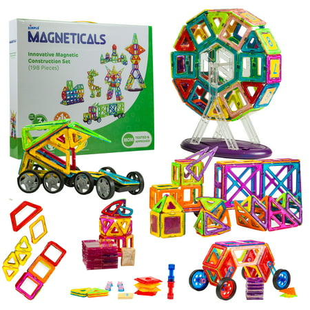 Magneticals Magnet Toys Tile Set (198-Piece Set) Stack, Create and Learn Promote Early Learning, Creativity, Imagination Magnetic Building Toys for Kids, Top-Rated Perfect Toy for Boys and Girls (Creativity Toys For Boys)