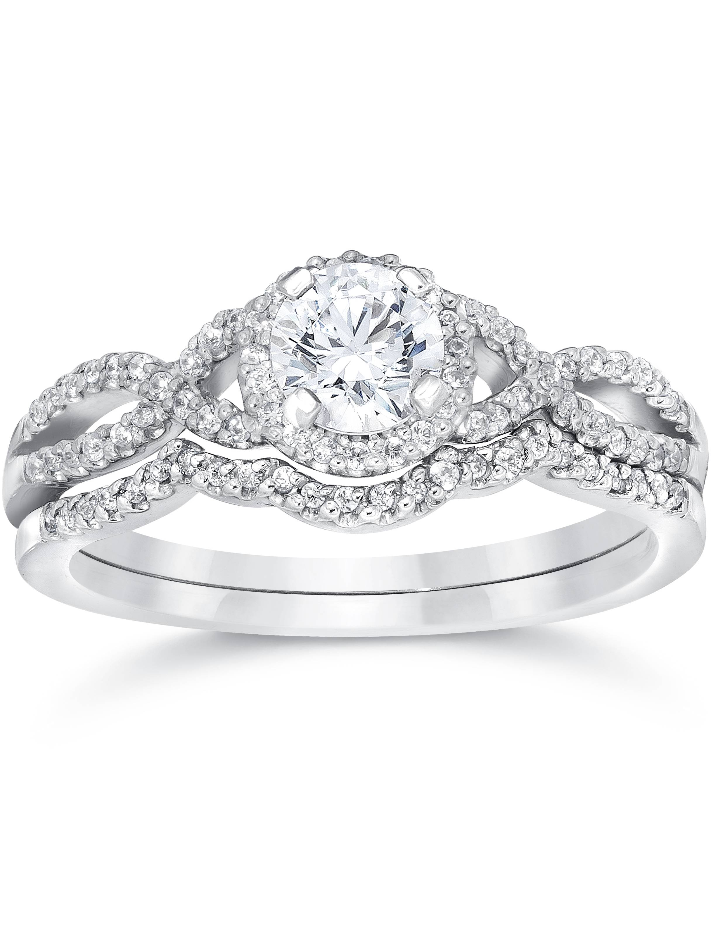 3/4ct Diamond Infinity Engagement Wedding Ring Set 14K White Gold