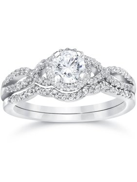Product Image Pompeii3 3 4ct Diamond Infinity Engagement Wedding Ring Set 14k White Gold