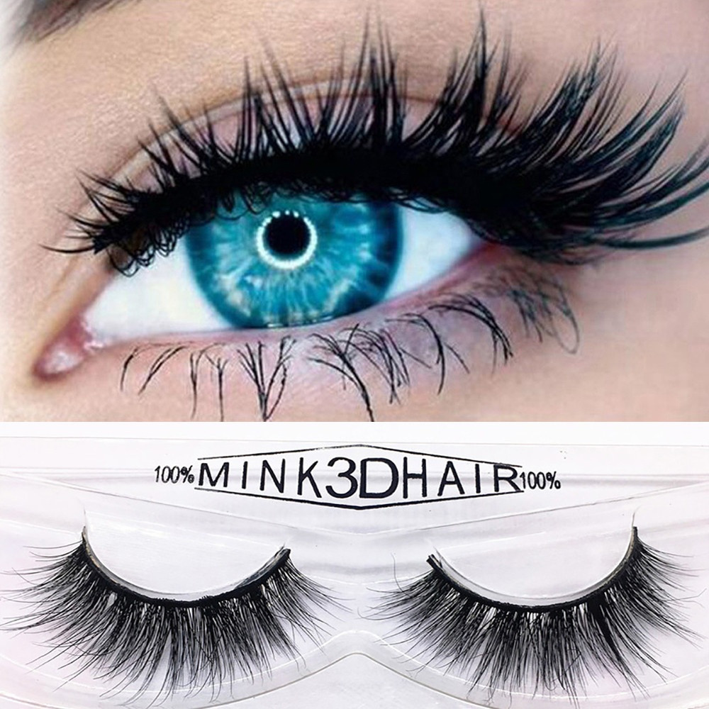 Outtop 1 Pair 3D Luxury Natural Mink Glue Adhesive Long Fake Eyelashes Pack Reusable