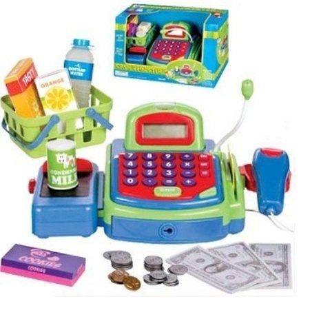 Green Cash Register Multi Functional Educational Pretend Play W Battery Operated Toy