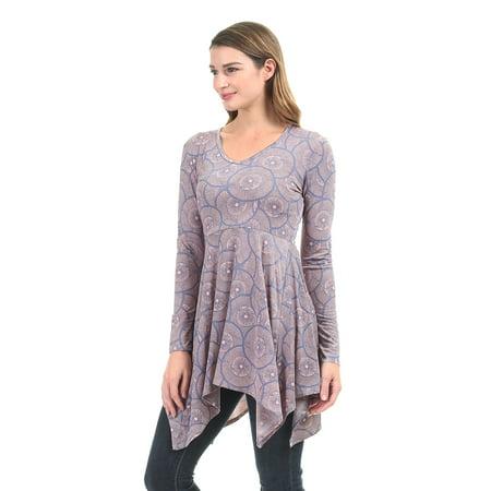Panel V-neck Top - WT1453 Womens Print V neck Long Sleeve Side Panel Tunic Top