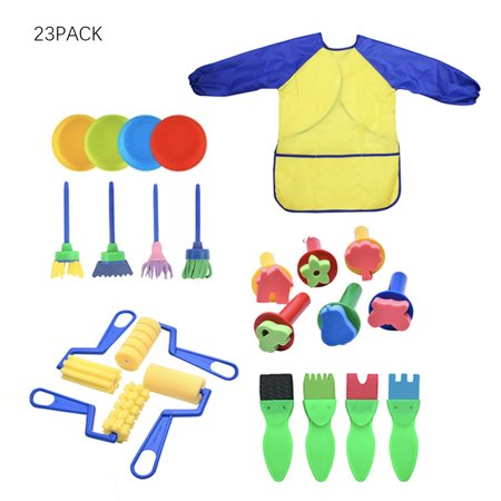 Kids Early Learning Sponge Painting Brushes Kit, 23 Pieces Sponge Drawing Shapes Paint Craft Brushes for Toddlers Assorted Pattern, Including Children Waterproof Art Painting Smock Apron (Paint Brushes For Toddlers)