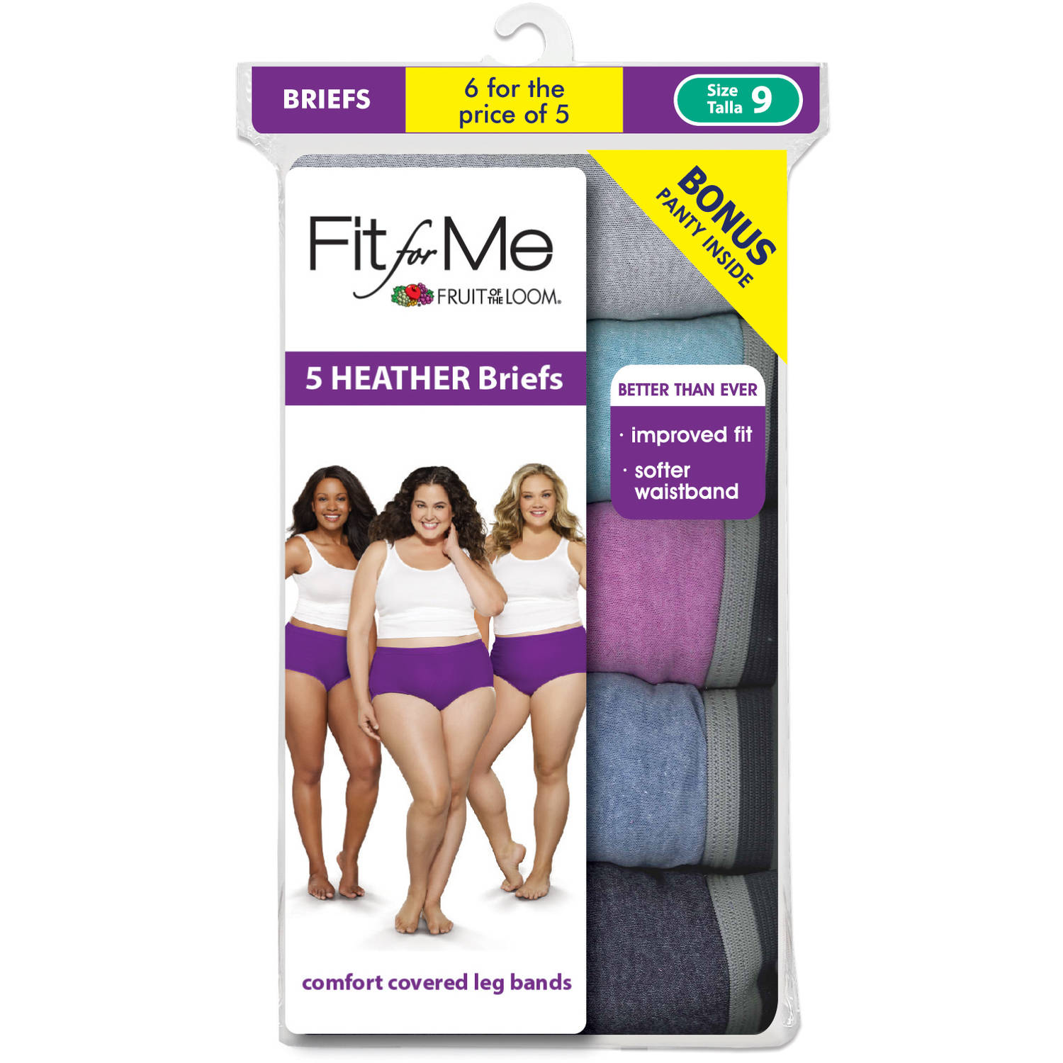 Fit for Me by Fruit of the Loom 5+1 bonus pack Heather Brief