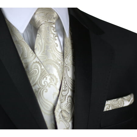 Italian Design, Men's Formal Tuxedo Vest, Tie & Hankie Set for Prom, Wedding, Cruise in Champagne Paisley](Lloyd Tuxedo)