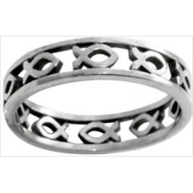Solid Rock Jewelry 760165 Ring Cutout Ichthus Style 433 Stainless Steel Size 6