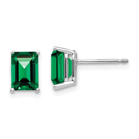 7x5mm Emerald Cut Mount (14K White Gold 7x5mm Emerald Cut Mount Stud Helens Stud Earrings)