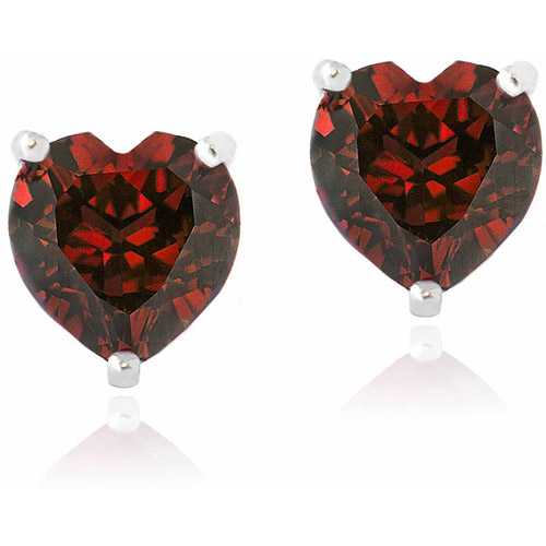 3 Carat T.G.W. Created Ruby Sterling Silver Heart Stud Earrings, 7mm