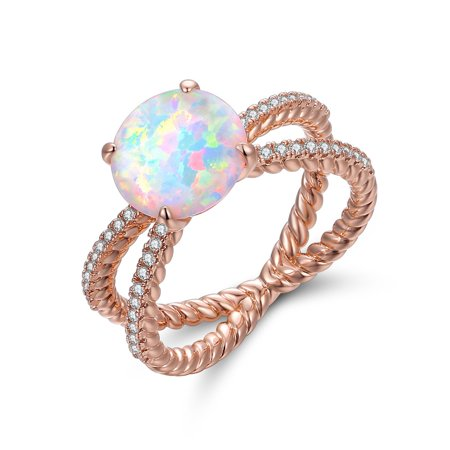 Rose Gold Plated White Fire Opal & Cubic Zirconia Crisscross Braided Ring