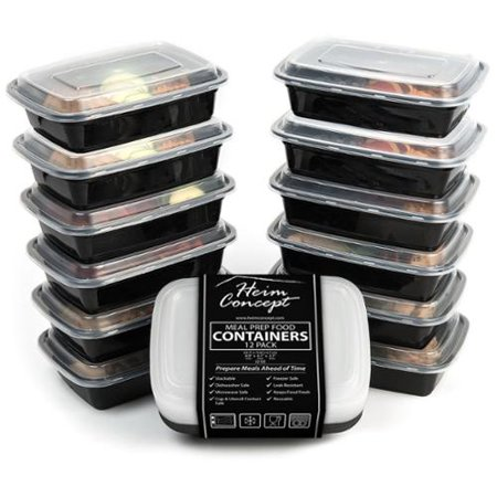 heim concept premium meal prep food containers with lids set of 12 food storage for parties. Black Bedroom Furniture Sets. Home Design Ideas