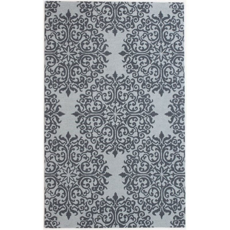 Bowery Hill 5' x 8' New Zealand Wool Rug in Floral Teal