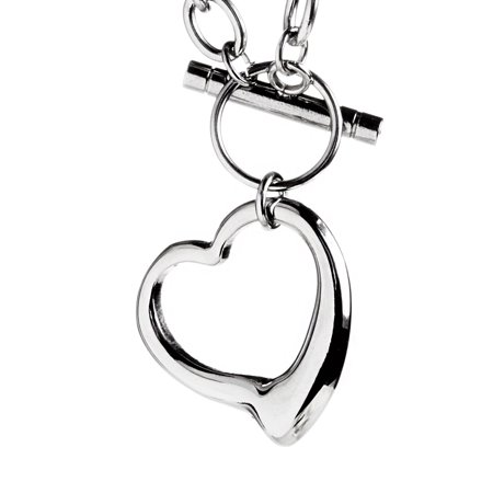 Stainless Steel Cable Chain Open Heart Toggle - 16 Toggle Necklace