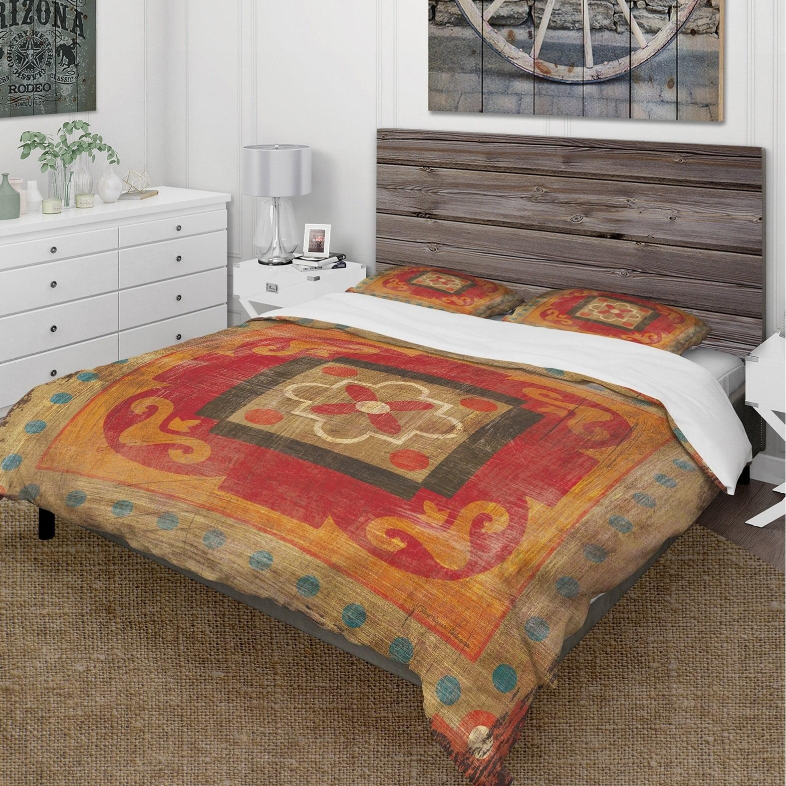 DESIGN ART Designart 'Moroccan Orange Tiles Collage II' Cottage Bedding Set Duvet Cover & Shams by Overstock