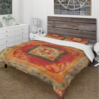 DESIGN ART Designart 'Moroccan Orange Tiles Collage II' Cottage Bedding Set - Duvet Cover & Shams