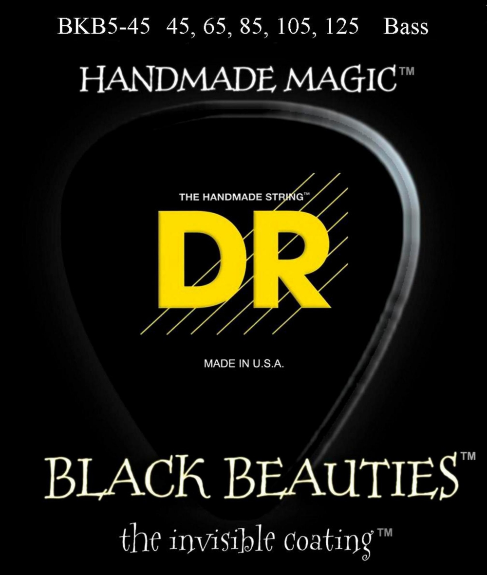 DR Strings Black Beauties Medium 5-String Bass Strings by DR Strings