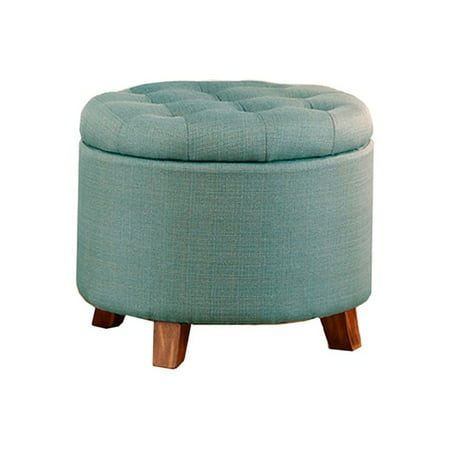 Swell Poundex Light Blue Linen Like Polyfiber Ottoman With Storage Machost Co Dining Chair Design Ideas Machostcouk