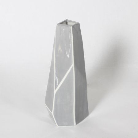 Durga Abstract Geometric Ceramic Vase in Grey - image 2 of 3