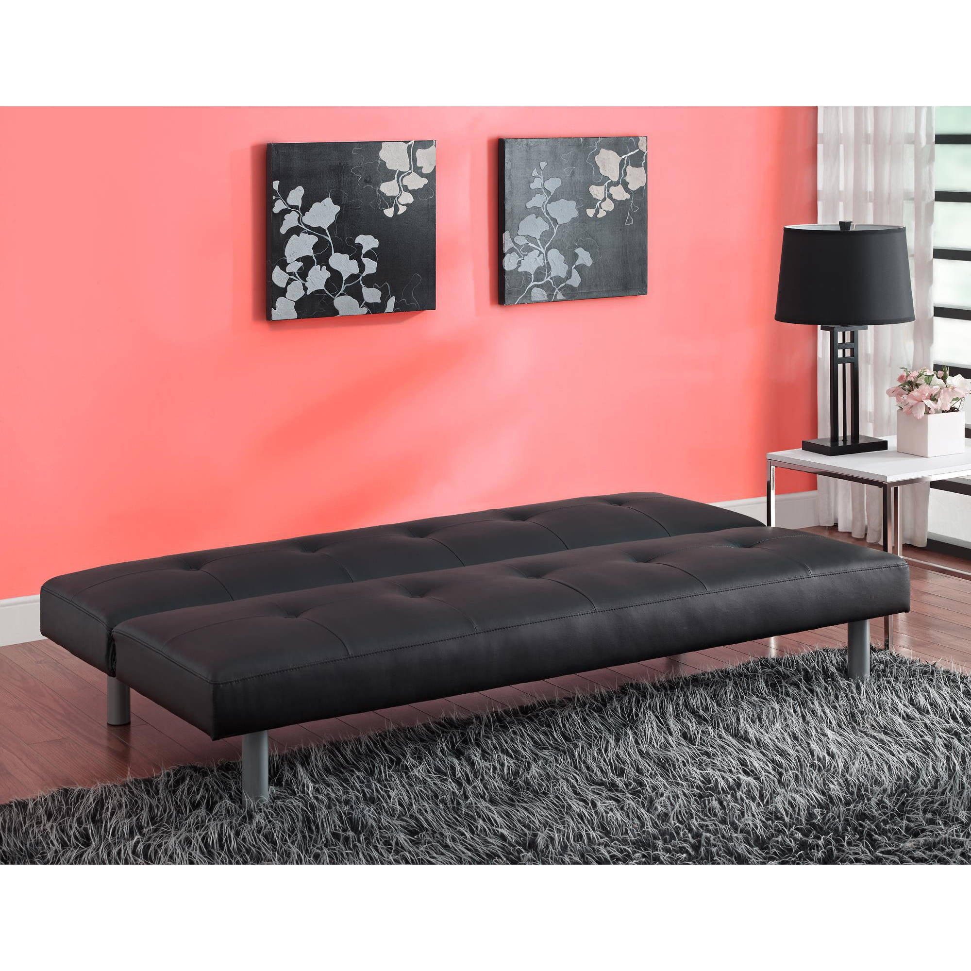 DHP Nola Tufted Faux Leather Futon Multiple Colors Walmart