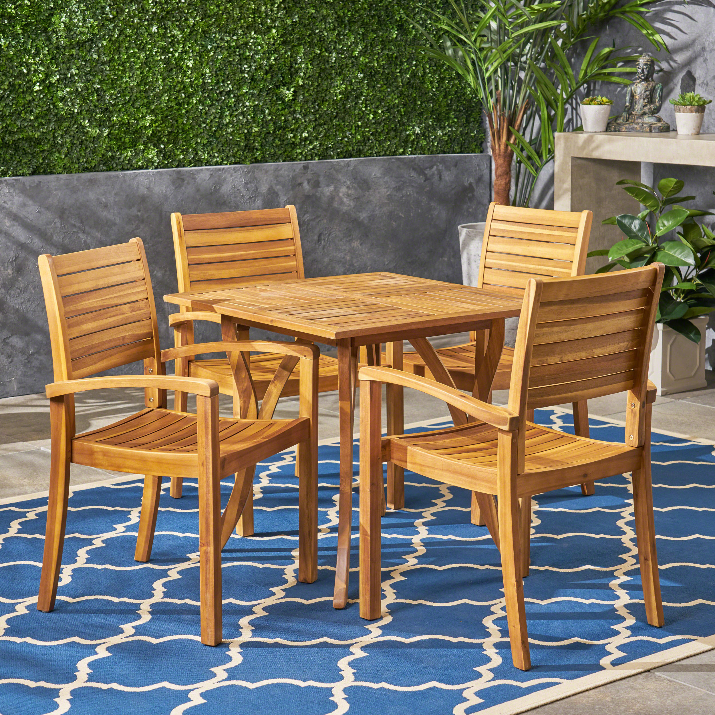 Carr Outdoor 4 Seater Square Acacia Wood Dining Set, Teak Finish