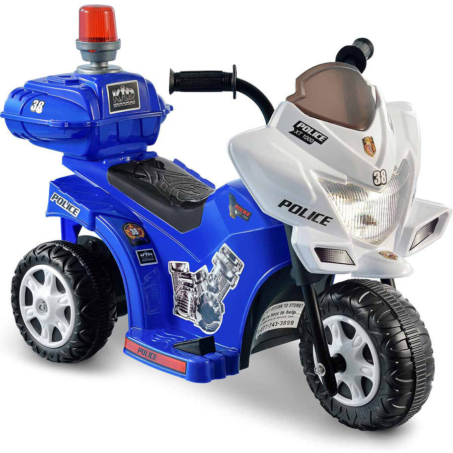 Kid Motorz Lil' Patrol 6-Volt Battery-Powered Ride-On, Blue and White