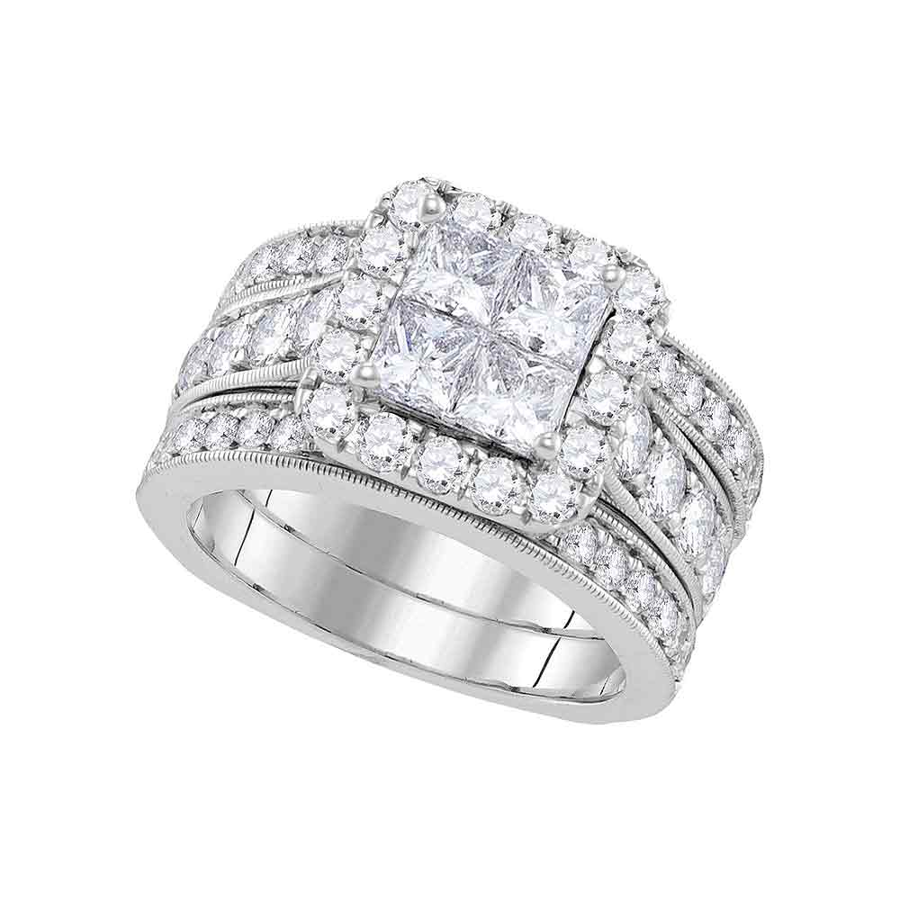 14k White Gold Womens Princess Diamond Halo Bridal Wedding Engagement Ring Band Set 3.00 Cttw by