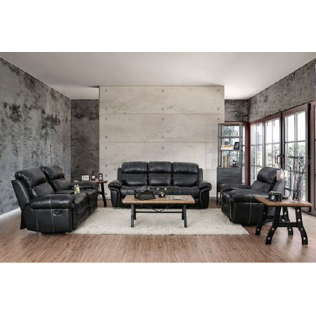 Traditional Black Breathable Leather Padded 3pc Sofa Set Living Room Furniture