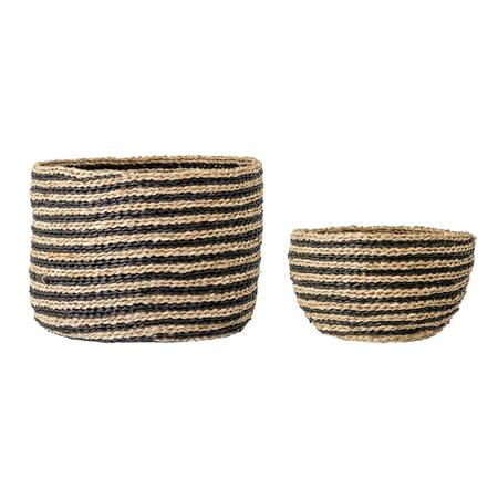 Bloomingville Handwoven Striped Seagrass Baskets Set Of 2 Sizes Walmart Com Walmart Com