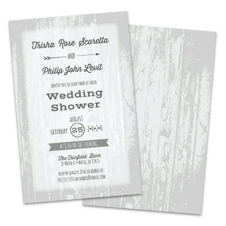 Personalized White Barn Wood Wedding Shower Invitation](Barn Dance Invitations)