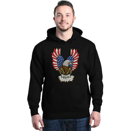 Shop4Ever Men's American Bald Eagle USA Wings Flag July 4th Hooded Sweatshirt