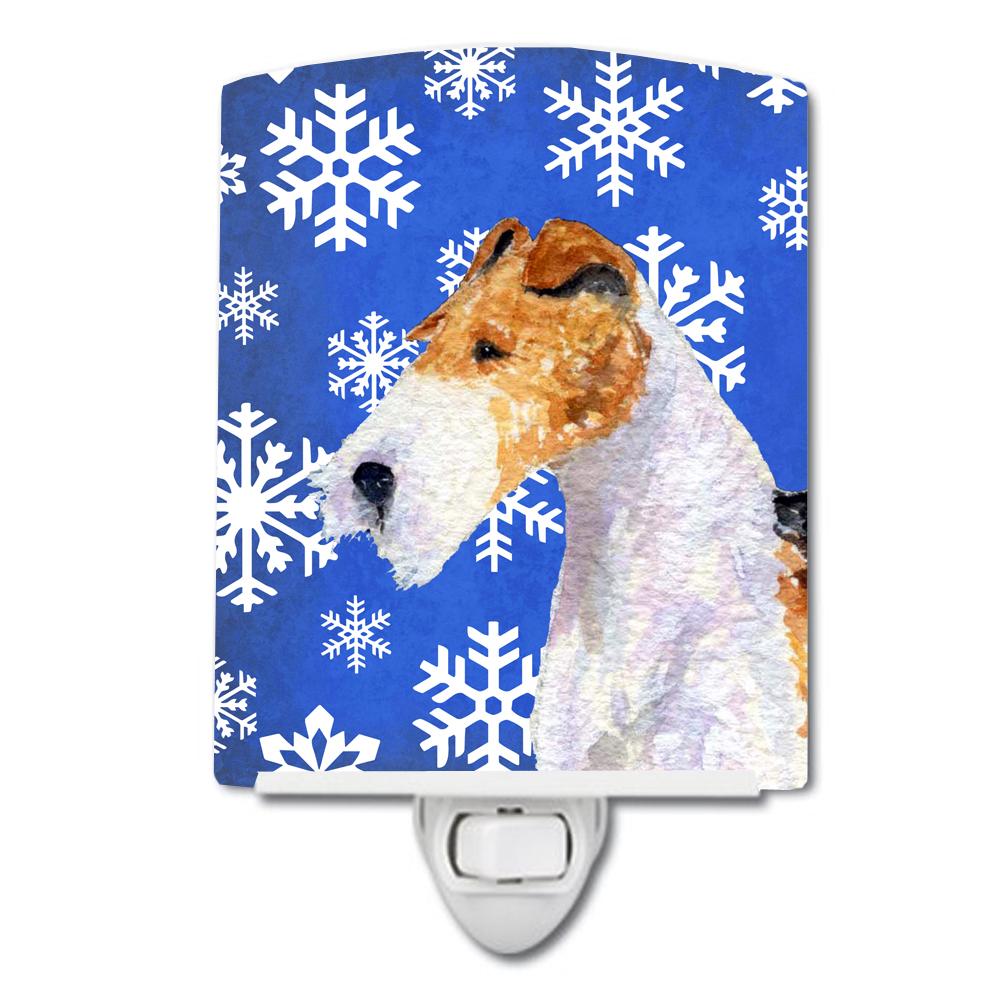 Fox Terrier Winter Snowflakes Holiday Ceramic Night Light SS4616CNL by Caroline's Treasures