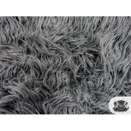 Faux Fake Fur Mongolian Fabric Sold by the Yard (GRAY)