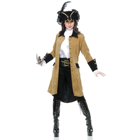 1de4feb092e Womens Tan And Black Elegant Pirate Lady Captain Long Costume Jacket Coat
